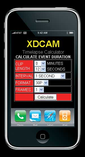 Timelapse calculator, great for iphone or blackberry