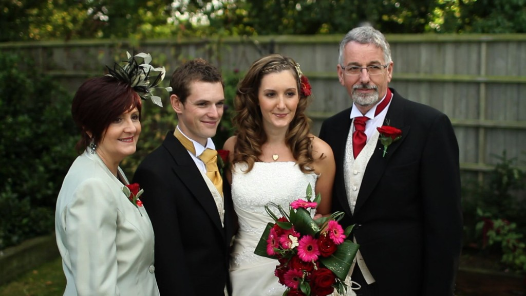 James with his bride and new in-laws