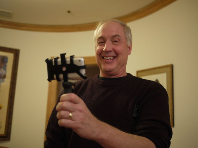 Ben Burtt with his Zacuto iphone grip junior