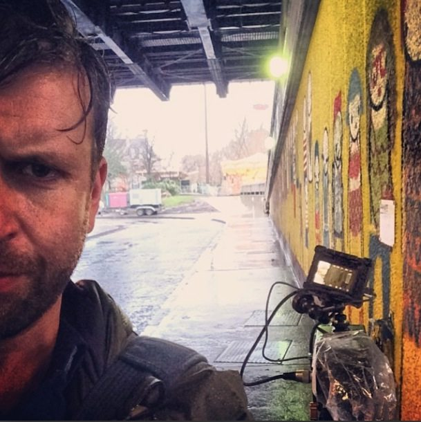 Wet and miserable filming in the pouring rain on London's South Bank
