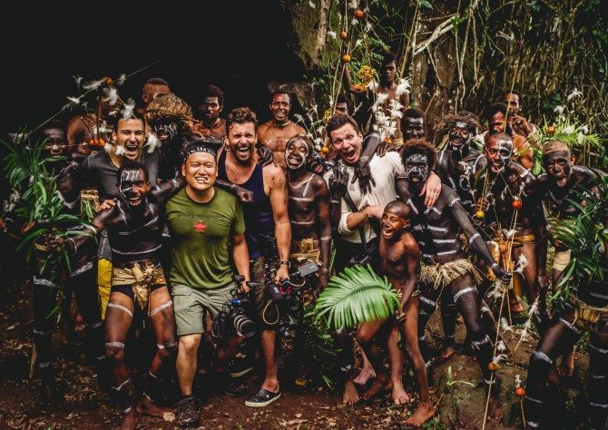 The Wonder List team with men from Rah Island dressed up to perform the snake dance