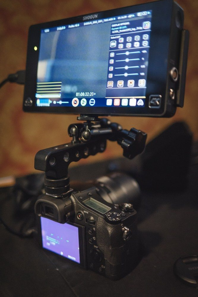 The RX10mkII with the Atomos Shogun connected. You get an uncompressed 422 8 bit signal from all the cameras here