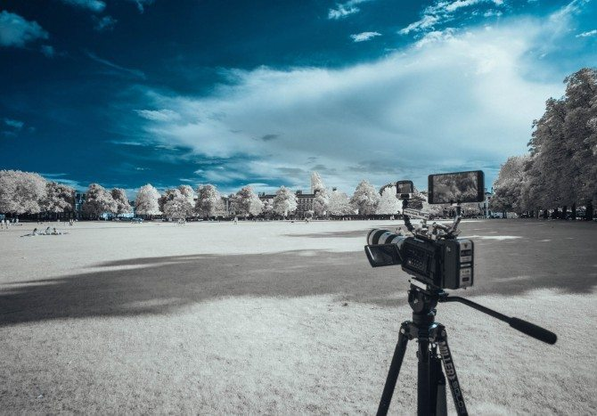 Shooting with the URSA mini 4.6k on Richmond Green. Infrared photo with modified Sony A7R