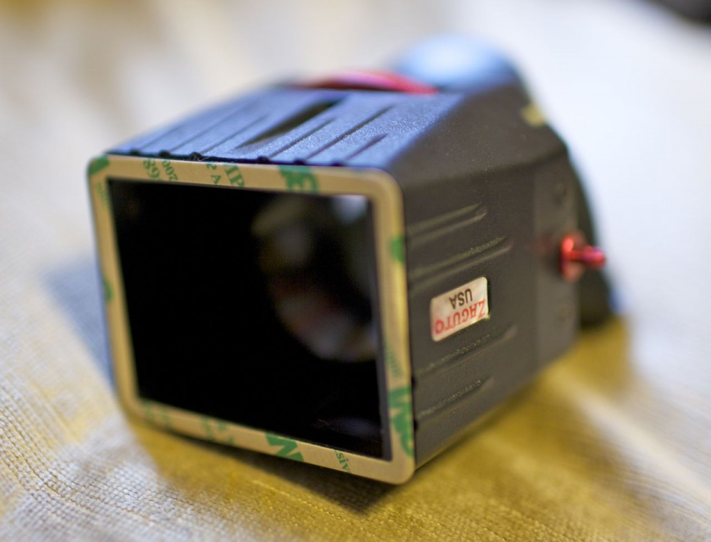 The frame still attached to the Z-Finder with the sticky protector