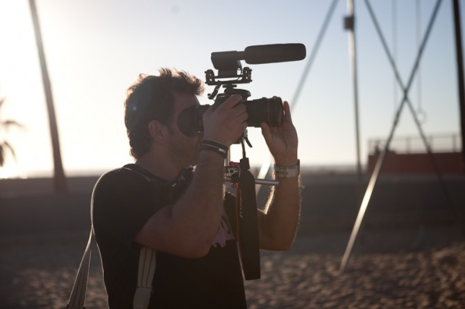 7D with 35mm f1.4 and Rode Video Mic