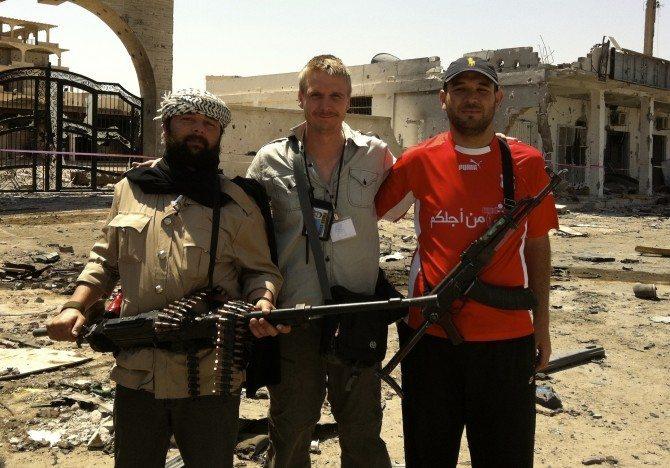 Chris with rebels in Libya