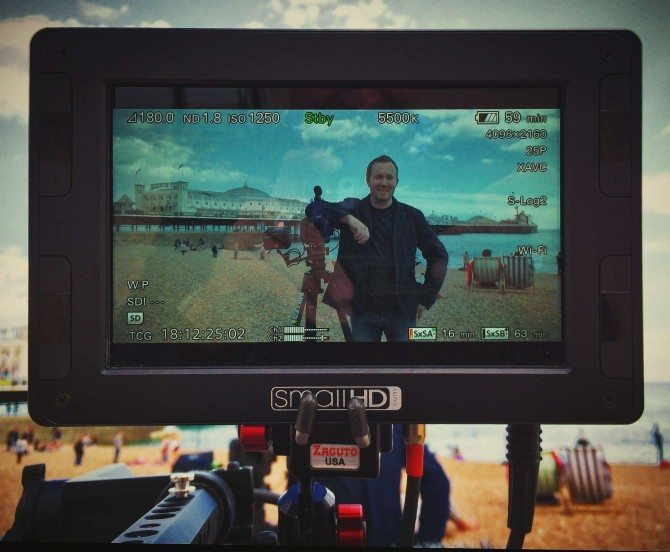 James through the stunning Small HD High Brite monitor. Yes, this is Brighton again for the Miller Tripods shoot last week!