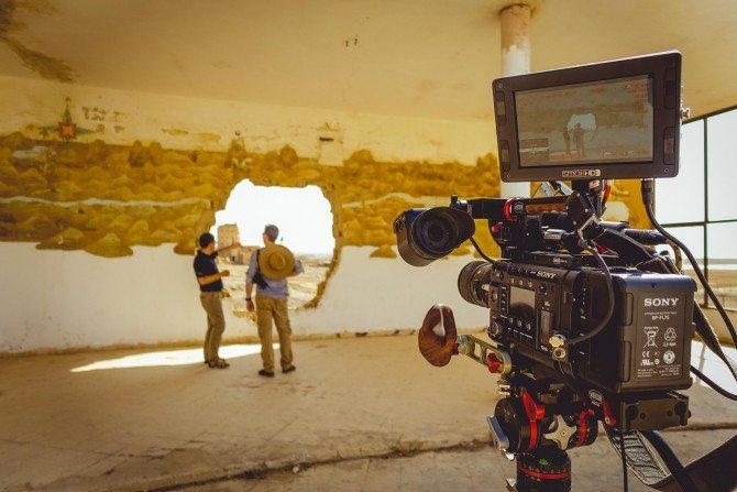 The exceptional Sony F55 with VOCAS gear on it. Superb add ons to make the camera more user friendly handheld
