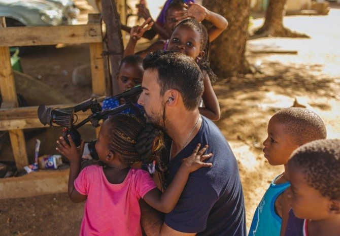 Producer/ Shooter Julian Quinones with the CNN FS7 and my Z-Finder in Africa for The Wonder List
